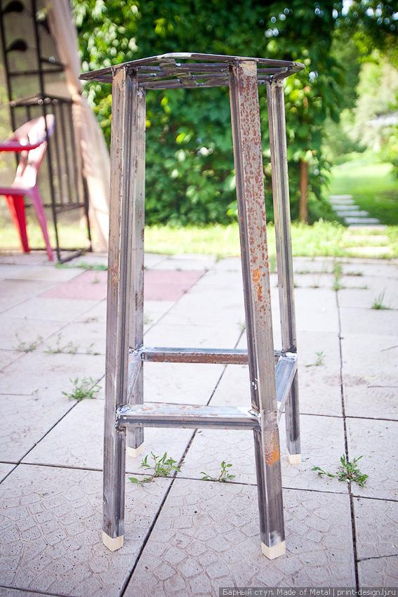 барный стул металлический железный своими руками табурет предмет интерьера дизайнерский